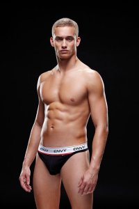 Envy Logo Elastic Low Rise Thong Underwear Black E002