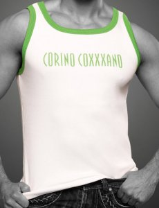 Coxxxano Sporty Piping Logo Tank Top T Shirt White/Green 405...
