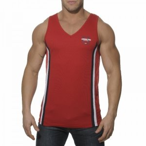 Addicted Loose Fitting V Neck Tank Top T Shirt Red AD173