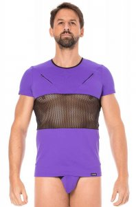 Lookme Mesh Panel Zipper Short Sleeved T Shirt Purple 2004-81