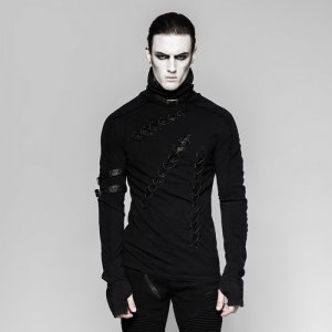 Punk Rave Cursed Lace Up Slits High Neck Long Sleeved T Shirt Black T-461