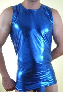 Don Moris Metallic Muscle Top T Shirt Blue DM071056
