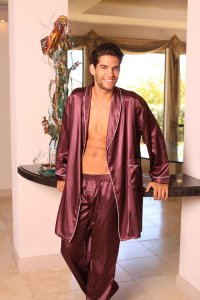 Lovely Day Lingerie Men's Robe with Long Pants Burgundy ML10...