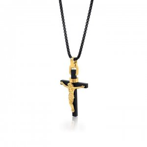 Italgem Steel Italian Plated Cross Necklace Gold/Black