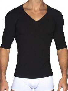 Clearance Rounderbum Padded Muscle V Neck Short Sleeved T Shirt Black RBMS01