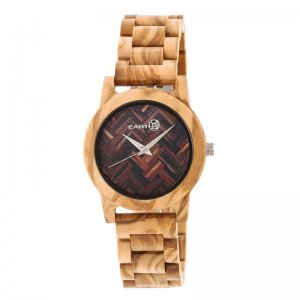 Earth Wood Crown Bracelet Watch - Khaki/Tan ETHEW4501