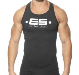 ES Collection Muscle Back Tank Top T Shirt Black 202