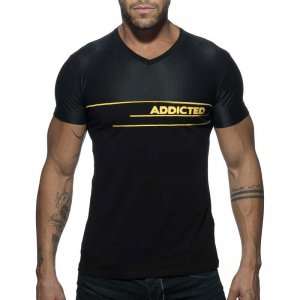 Addicted AD Combi Mesh V Neck Short Sleeved T Shirt Black AD...