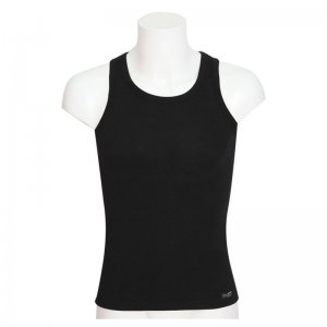 Minerva Sporties Bamboo Vest Muscle Top T Shirt Black 10720