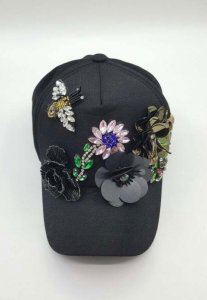 Spy Henry Lau Embroidered Bead Fashion Hat Black PH898CAP