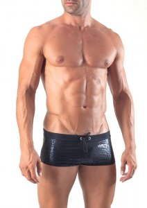Geronimo Square Cut Trunk Swimwear Black 1514B2-2