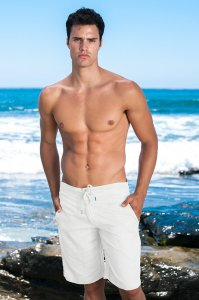 Sauvage Linen Resort Boardshorts Beachwear White M025