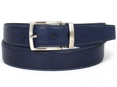 Paul Parkman Hand Painted Leather Belt Navy B01-NVY