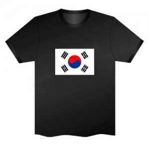 LED Electro Luminescence Flag Of South Korea Funny Gadgets Rave Party Disco Light T Shirt Black 31799