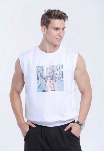Spy Henry Lau Ice Cream Graphic Muscle Top T Shirt White PH398MVTWHT
