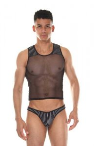 LaBlinque Stripe Tulle Tank Top & Thong Set Black 15403