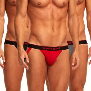 Papi [3 Pack] Cotton Stretch Jock Strap Underwear Red 980911