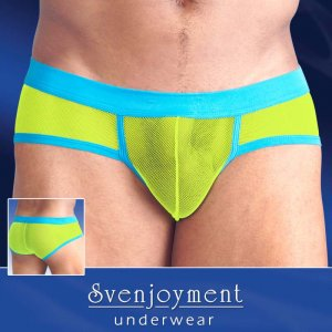 Svenjoyment Contrast Trim Mesh Mini Brief Underwear Lime/Turquoise 2131749