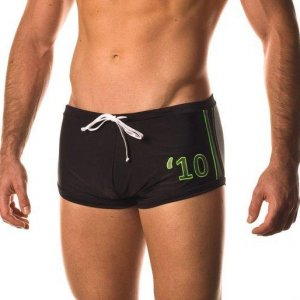 Baskit Lucky 10's Block Square Cut Trunk Swimwear Noir WTE15...