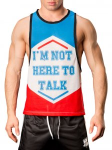 Barcode Berlin I Am Not Here To Talk Tank Top T Shirt White/Blue/Red 91054-214