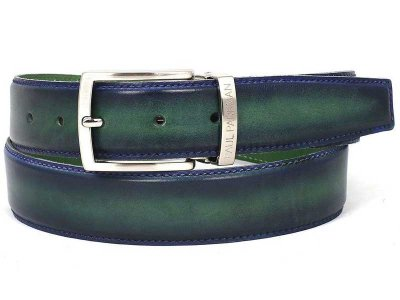 Paul Parkman Two Tone Leather Belt Blue & Green BLU-GRN