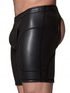 665 Inc. Neoprene Open Ass Long Shorts Black 10040