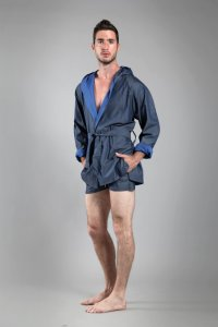 Buns Jeans Reversible Bathing Wrap 3/4 Cap Bathrobes Dark Bl...