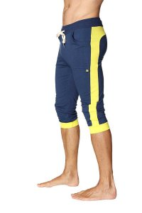 4-rth Cuffed Yoga 3/4 Pants Royal Blue/Yellow