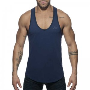 Addicted AD Flags Tape Tank Top T Shirt Navy AD777