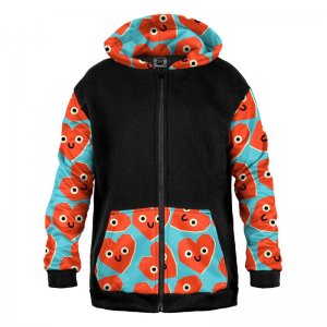 Mr. Gugu & Miss Go Cute Hearts Unisex Zip Up Mix Hoodie HK-MIX1484