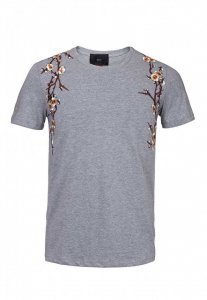 Spy Henry Lau Floral Embroidery Short Sleeved T Shirt Grey PH498MTE