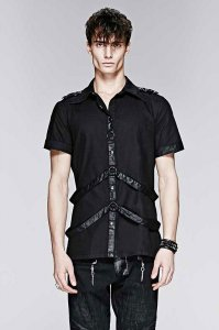 Punk Rave Leather Loops Short Sleeved Shirt Black Y-575