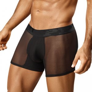 PPU Sheer Bottom Enhancer Removable Pads Boxer Brief Underwear Black 0982