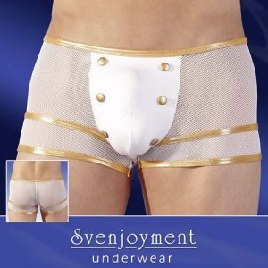 Svenjoyment Gold Bands Buttoned Mesh Boxer Brief Underwear White 2130025