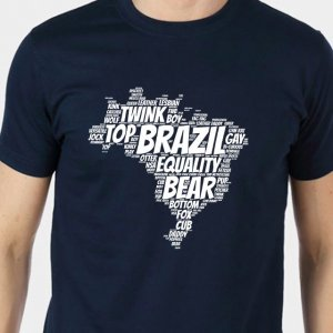 4 Labels Brazil Short Sleeved T Shirt Navy Blue/White