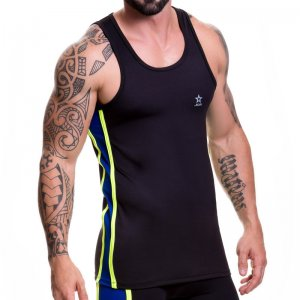 Jor GLADIATOR Tank Top T Shirt Black/Royal 0374