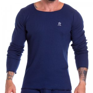 Jor Arizona Rib Scoop Neck Long Sleeved T Shirt Blue 0921