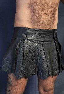 Kristen Bjorn Leather Kilt II Black