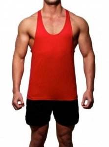 Gym Clothing T Back Weight Training Tank Top T Shirt Red