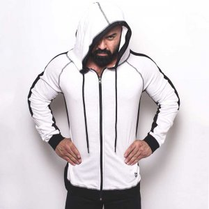 Bullywear Track Hoodie Long Sleeved Sweater White/Black LH76...