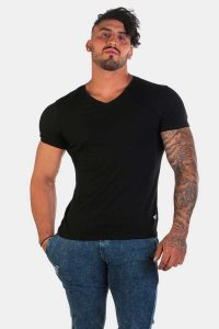 Jed North Razor Cut V Neck Short Sleeved T Shirt Black JNTOP014