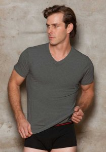 iCollection Modal V Neck Short Sleeved T Shirt Steel 8808