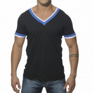 ES Collection Double Binding V Neck Short Sleeved T Shirt Black TS103