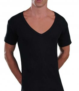 Lord Too Open Deep V Neck Short Sleeved T Shirt Black 1231