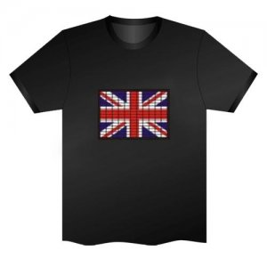LED Electro Luminescence Union Jack Funny Gadgets Rave Party Disco Light T Shirt Black 31774