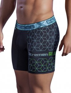 Xtremen Hexagon Microfiber Boxer Brief Underwear Black 51402