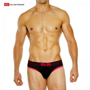Go Softwear Pop Volt Reveal Jock Brief Jock Strap Underwear Black/Fuchsia 2250