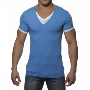 Addicted Double Effect V Neck Short Sleeved T Shirt Blue/White AD121