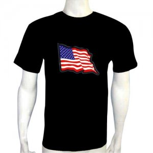 LED Electro Luminescence Dancing USA Flag Funny Gadgets Rave Party Disco Light T Shirt 12074
