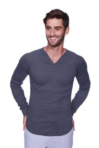 4-rth Thermal V Neck Long Sleeved T Shirt Charcoal